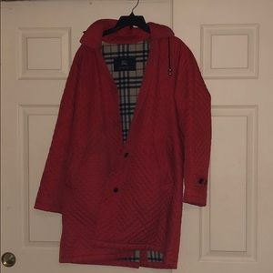 red burberry quilted coat